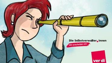 """Zeichnung Viola mit Fernglas und Logo """"Die Selbstverwalter_innen entscheiden mit"""""""